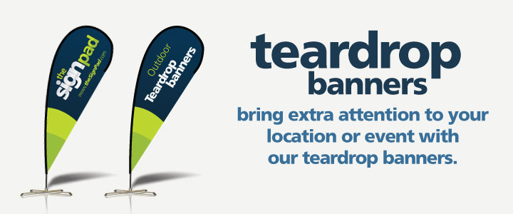 Outdoor &quot;teardrop&quot; banners. Design &amp; printing in Victoria, BC
