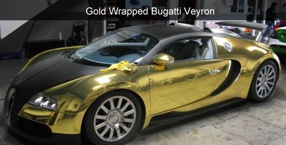 Bugatti Veyron gold wrap