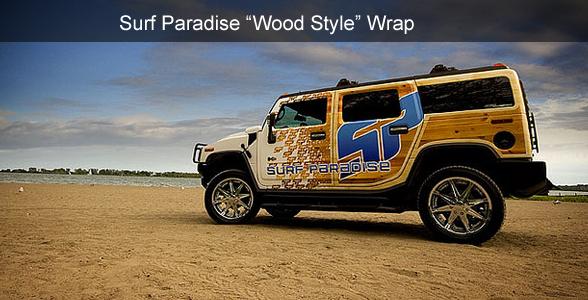 Surf Paradise wood style wrap