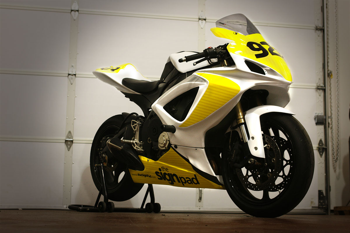 Beautiful Motorcycle wrap / graphics for local racer   The Sign Pad