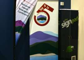 Vancouver Island Emergency Conference Tear Drop Flag and Roll-up Banner
